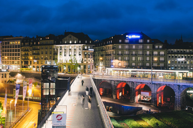 Lausanne Flon at Night
