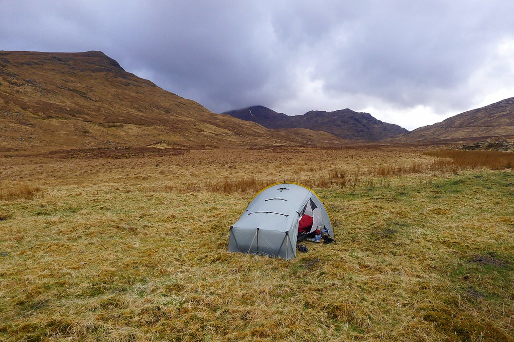 Wild camping at the end of Loch Mullardoch