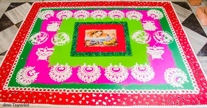 Rangoli design with Ram Luxman and Shiva