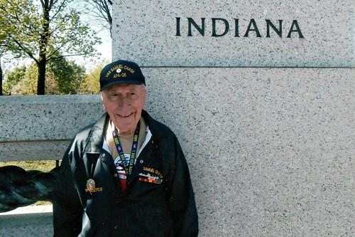 Walter at WW2 War Memorial with Indy Honor Flight - April 2013 (Close-up at High Res)