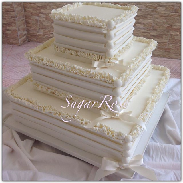 Beautiful White Themed Cake by Rosa Sainato of SugarRose