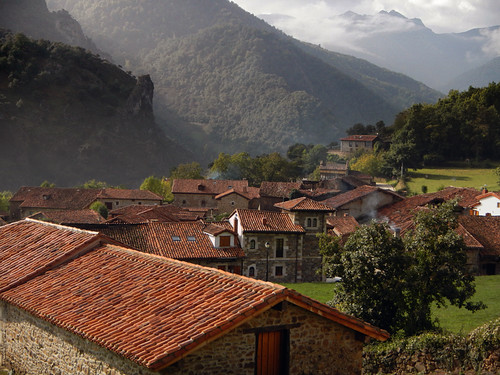 View of Mogrovejo, a mountain village in a Picos de Europa, Spain
