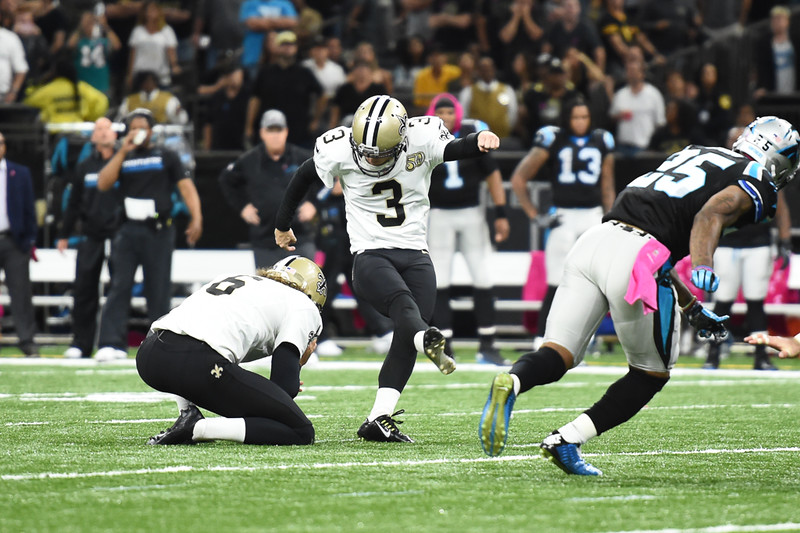 Wil Lutz (#3) drills a 52-yard field goal with 11 seconds left to lift the Saints over the Panthers, 41-38, on Sunday at the Mercedes-Benz Superdome (Photo: Parker Waters).