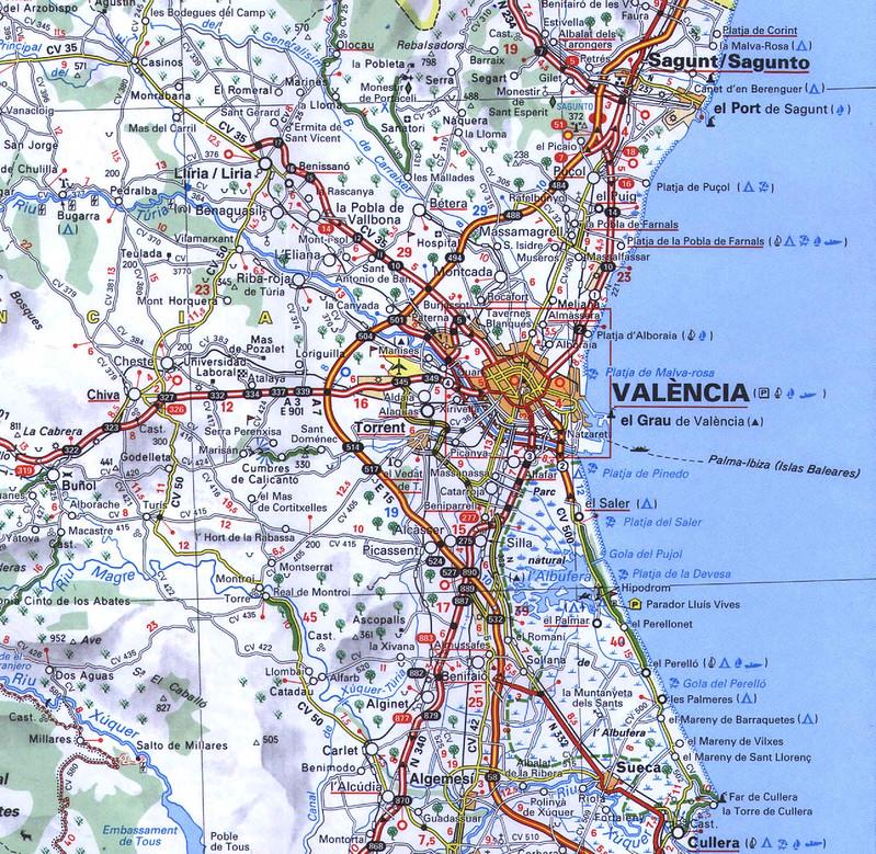 Mapa Estradas Valencia