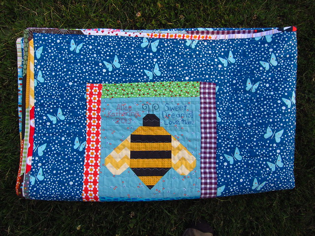 Bee tag and pretty scrappy binding