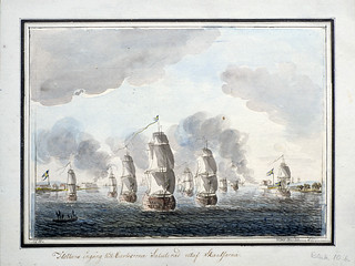 The Swedish navy on its way in to Karlskrona in July 1789, Blekinge, Sweden