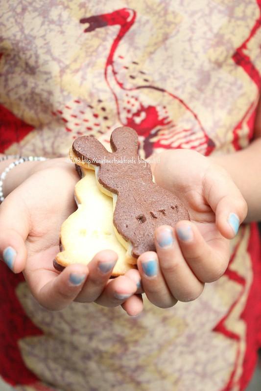 Biscotti bicolore di riso con cioccolato bianco