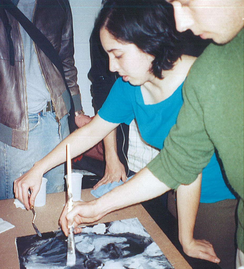 Students painting in the Rome studio, fall 2000.  photo / Anna Rita Flati