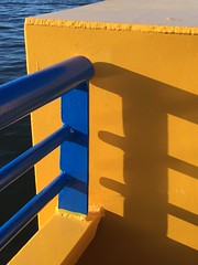 On a ferry in Sweden - yellow and blue in the afternoon sun
