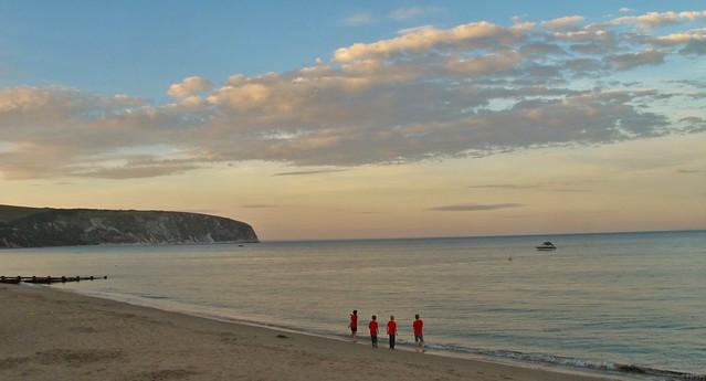 Redshirts on Swanage Beach