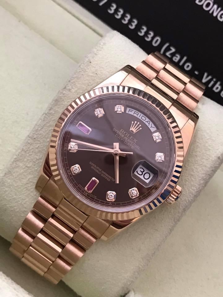 Bán đồng hồ rolex day date 6 số 118235 – ruby xoàn socola – vàng hồng 18k – size 36