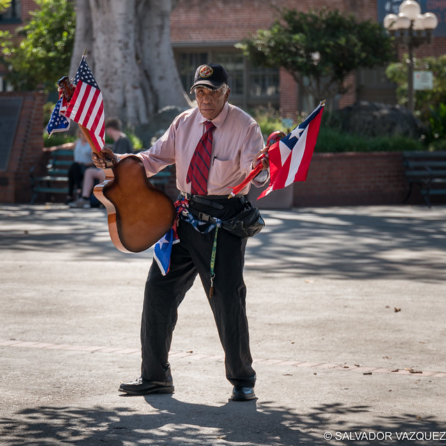 Showing the flag at Olvera Street
