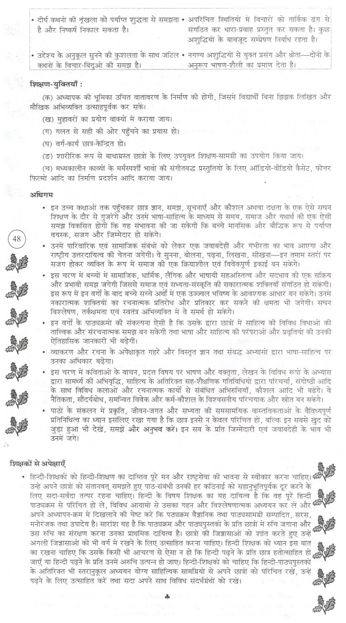 Bihar Board Secondary Syllabus - Second Indian Language