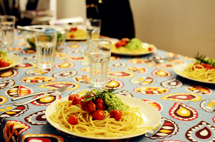 tomato goats cheese pea peasto spaghetti rosemary sprig