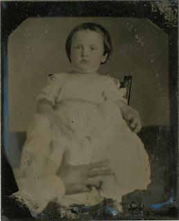 Baby with Tucked in Chin - Parent's Steading Hand, Small Tintype