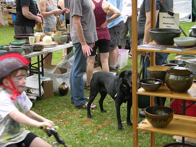 2013 Linden Hills Festival pottery booth
