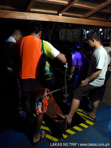 Boarding our boat for the Iwahig Firefly Watching in Puerto Princesa City, Palawan