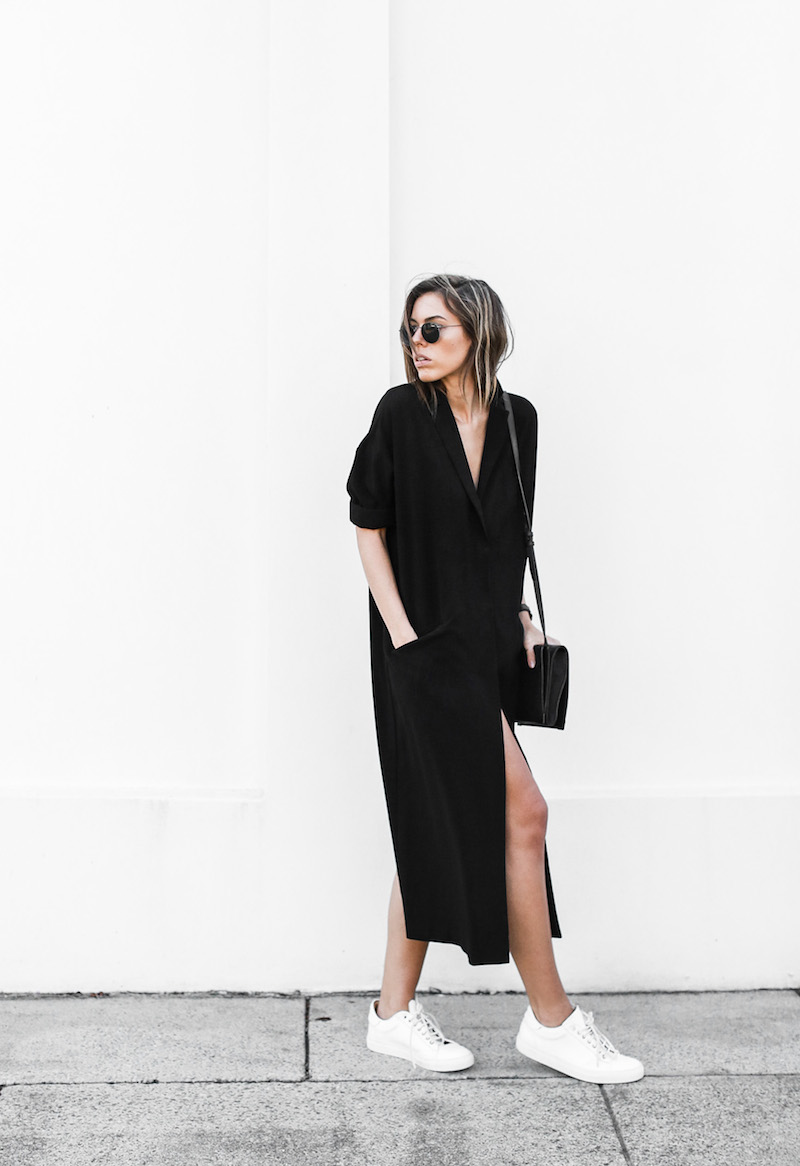 modern legacy blog ASOS duster coat black dress sneakers street style Alexander Wang Prisma clutch monochrome (5 of 13)