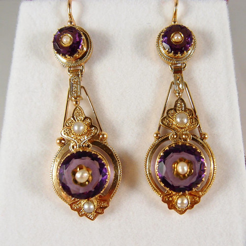 Superb dangling earrings, Victorian era stamped 18K French gold jewelry, pearls and purple paste, fine gold jewelry