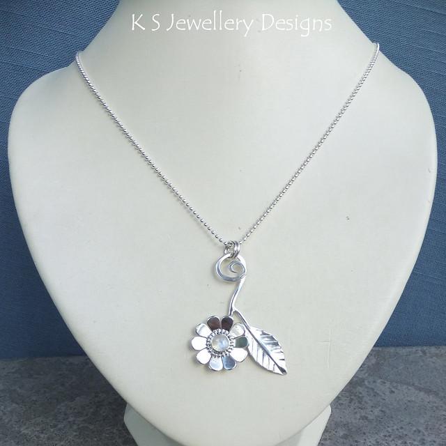 Rainbow Moonstone Daisy & Leaf Sterling Silver Pendant