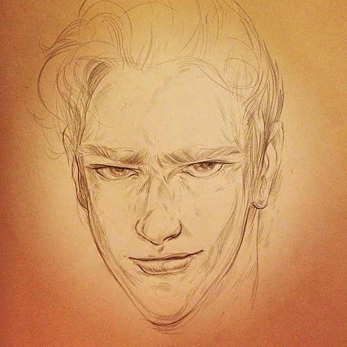 He's got those eyebrows I like. #sketch before bed.