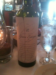 The Gran Estirpe Malbec, at Dinner