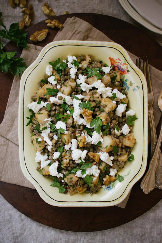 Lentils with Celeriac, Walnuts and Feta