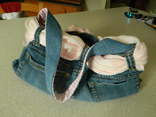 Jeans Purse with Pink Ticking