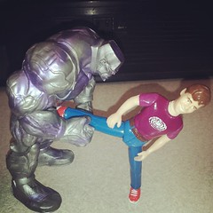 Will from Land of the Lost side step, super kicking dudes in the crotch. Why? Because that