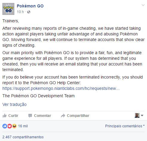 Trapaceiros podem dar adeus a Pokémon GO nos próximos dias!