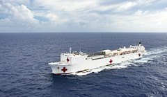 USNS Mercy (T-AH 19) steams through the Pacific earlier this week. (U.S. Navy/MC2 Hank Gettys)