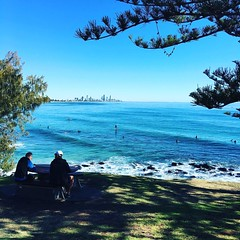 Looking to #surfersparadise #surf flat #surfers dangling feet looking to horizon for swell #cycling #beachlife #cyclinglife #goldcoast #cycle #wymtm