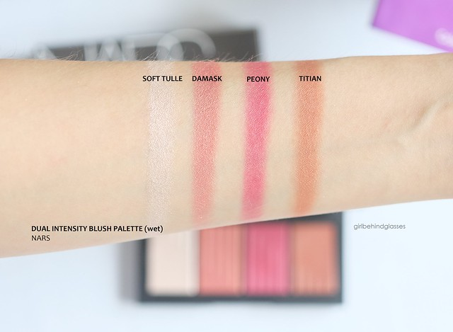 NARS Dual Intensity Blush Palette wet swatches