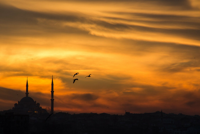 Mosque and Skyline at Sunset - Istanbul, Turkey