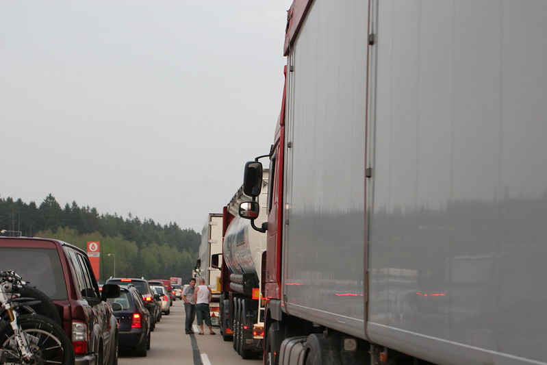 Traffic jam on the motorway, Brno