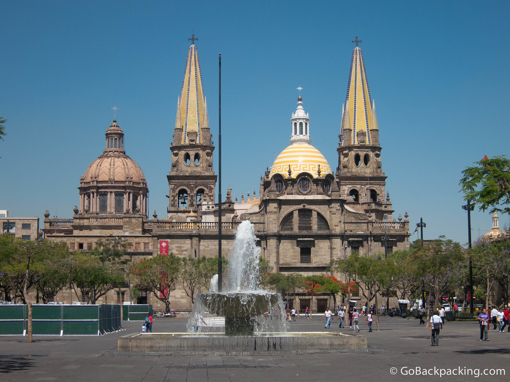 My favorite view of Guadalajara Cathedral is from Plaza de la Liberación to the east