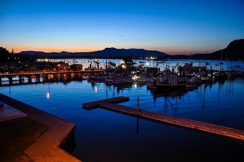 dock waterfront britishcolumbia travel wideangle moody light evening scene vancouverisland boats water cowichanbay cowichan bay vancouver island sunset ocean marina bc canada nikon d90 nikkor 1801050mmf3556 twilight dusk lowlight