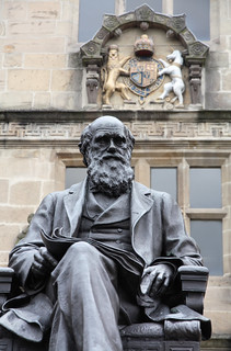 Statue of Charles Darwin, outside Shrewsbury Library, Castle Gates, Shrewsbury, Shropshire, UK
