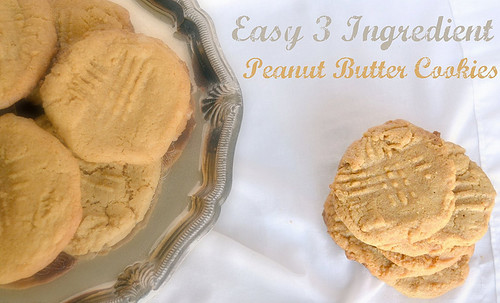 easy 3 ingredients peanut butter cookies