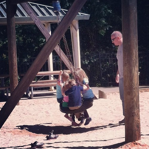 Watching my boyfriend push my kids & his kids on a tire swing on a gorgeous Saturday afternoon. Pretty awesome.