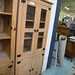 Tall Mexican pine 2 glass door display unit