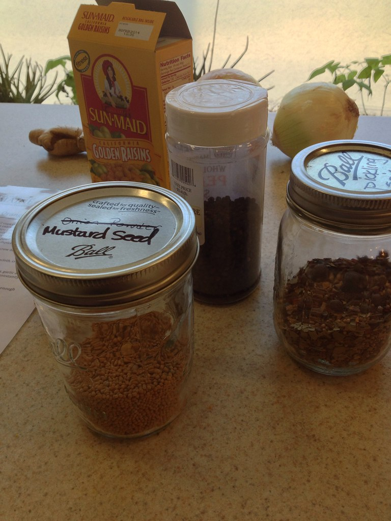 Chutney is a mix of fruit, raisins, onions, garlic, and spices - in ...