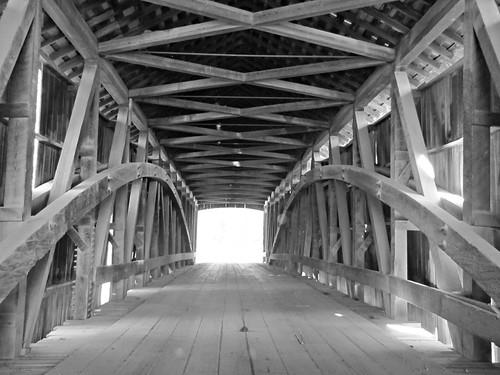 bridge blackandwhite architecture rural shadows interior indiana historic coveredbridge greencastle putnamcounty