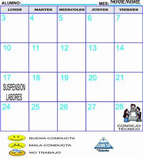 CALENDARIOS CONDUCTA NOVIEMBRE 2014