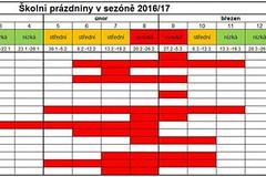 Kalendář školních prázdnin pro lyžaře 2016/17: kdy budou sjezdovky prázdné?