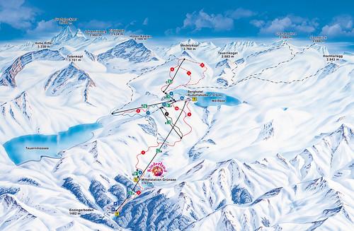 Weisssee - mapa sjezdovek
