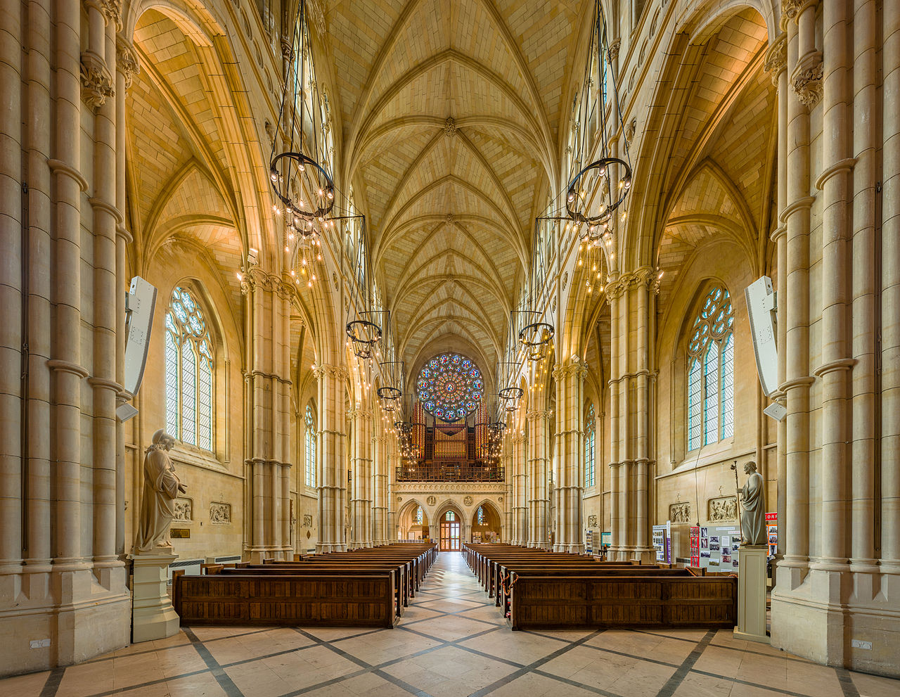 The nave of Arundel Cathedral looking west, in West Sussex, England. Credit David Iliff