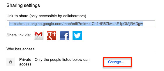 to share, you need to make the map viewable by all, or at least by others with the link...