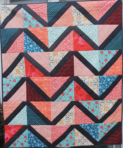 Coral and Charcoal Lattice Quilt
