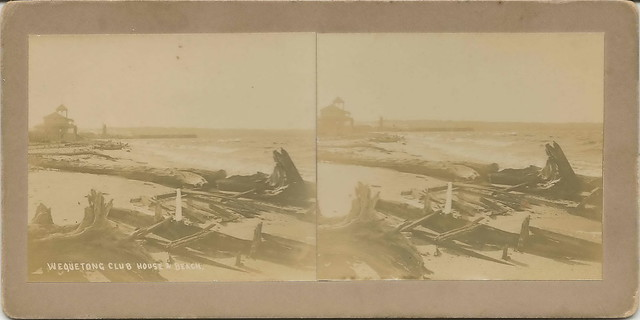Traverse City MI Wequetong Club Stereoscopic Stereoview Circa 1910 Locally Famous Photographer Orson Peck on West bay at The Boardman River Mouth West View